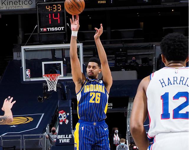 Harris 27 puntos, Simmons 21 + 6 + 7 + 4 76ers vencieron a Pacers